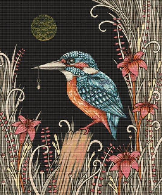 Charmed Kingfisher, Modern Counted Cross Stitch Kit -Anita Inverarity