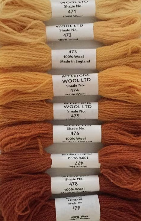 Appleton Tapestry Wools - Autumn Yellow Set, 10m Skeins 471-479