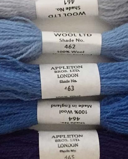 Appletons Tapestry Wool - Cornflower Blue, 10m Skeins 461-465