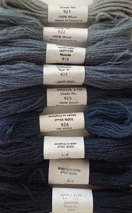 Appletons Tapestry Wool - Dull China Blue, 10m Skeins 921-929