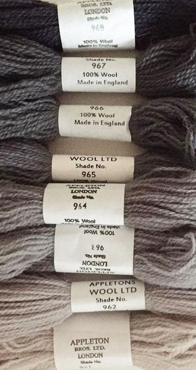 Appleton Tapestry Wools - Iron Grey Set, 10m Skeins 961-968