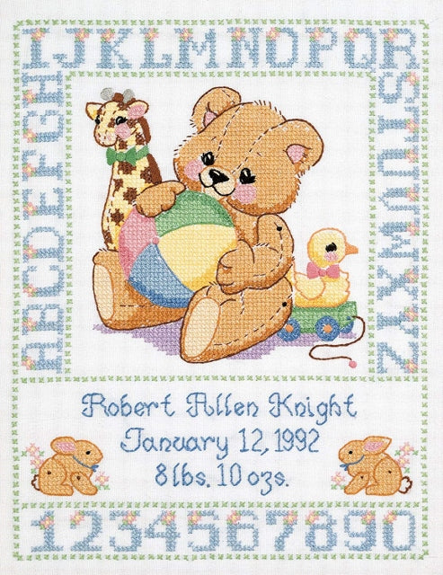 Bear Birth Sampler PRINTED Cross Stitch Kit, Janlynn 135-0004