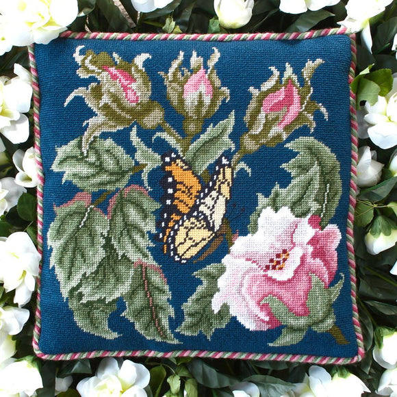 Beth Russell Needlepoint Tapestry Kit, Rose Garden Butterfly -Blue