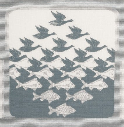 Bird-Fish Cross Stitch Kit, Permin 90-3400 -Grey