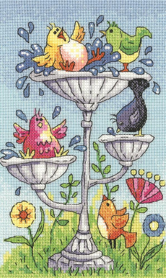 Bird Bath Counted Cross Stitch Kit, Heritage Crafts -Karen Carter