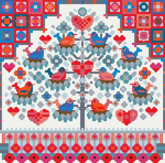 Birds in a Tree Needlepoint Tapestry Kit, Riverdrift House RR498