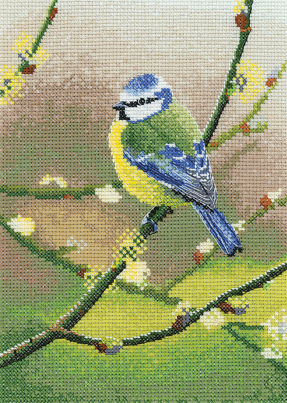 Blue Tit Cross Stitch Kit, Heritage Crafts