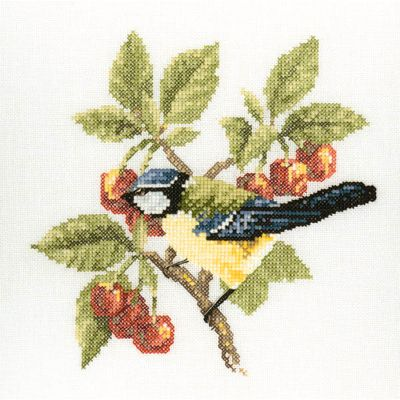Bluetit Cross Stitch Kit, Heritage Crafts - David Merry