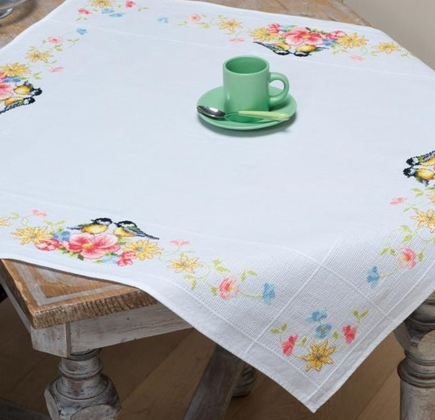 Great Tits And Flowers Cross Stitch Kit Tablecloth Vervaco Pn 0156340 Sew Inspiring Uk