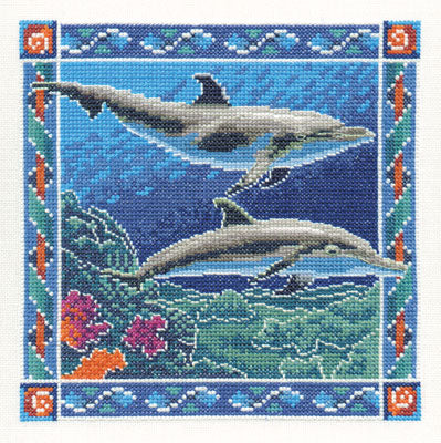 Bottlenose Dolphins Cross Stitch Kit, Heritage Crafts -Peter Underhill