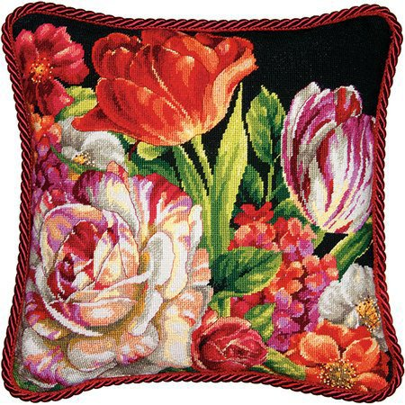 Bouquet on Black Tapestry Needlepoint Kit, Dimensions D71-20079