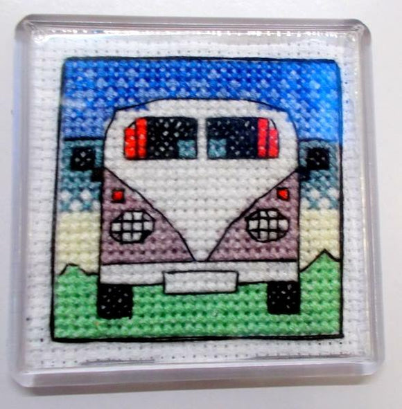 Camper Van Fridge Magnet Counted Cross Stitch Kit, Emma Louise Art Stitch