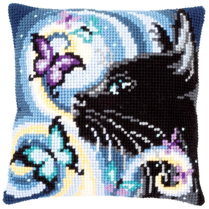 Cat with Butterflies CROSS Stitch Tapestry Kit, Vervaco pn-0149061