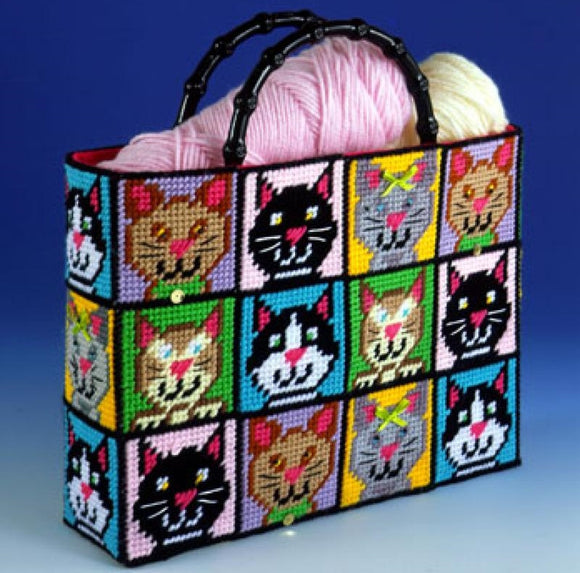 Cats Tote Bag Tapestry Kit, COUNTED Plastic Canvas Work, Design Works 1826