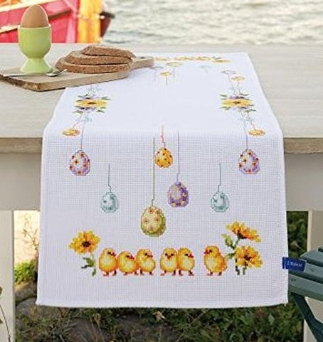 Chicks and Eggs Cross Stitch Kit Tablecloth Runner, Vervaco PN-0156320