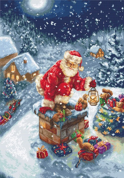 Chimney Santa Petit Point COUNTED HALF Cross Stitch Kit Luca-s G577