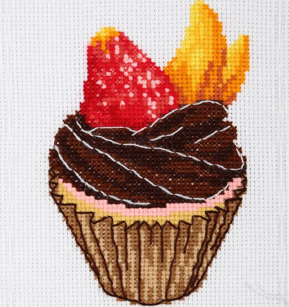 Chocolate Cupcake Cross Stitch Kit, VDV TM-2025