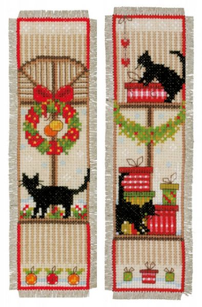 Christmas Cats Bookmarks Cross Stitch Kit, Vervaco pn-0155657