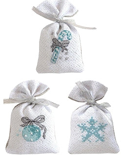 Christmas Cross Stitch Kit Gift Bag Set, Blue/Silver, Luca-s