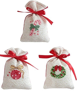 Christmas Cross Stitch Kit Gift Bag Set, Gold/Red, Luca-s
