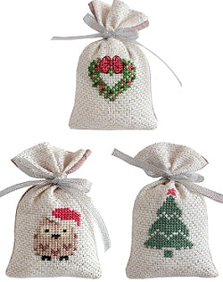 Christmas Cross Stitch Kit Gift Bag Set, Gold/Silver, Luca-s