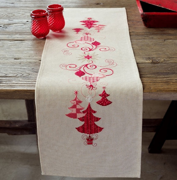 Christmas Decorations Tablecloth Cross Stitch Kit, Embroidery Runner, Vervaco PN-0144712