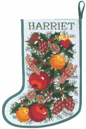 Christmas Garland Stocking Tapestry Needlepoint Kit, One Off Needlework