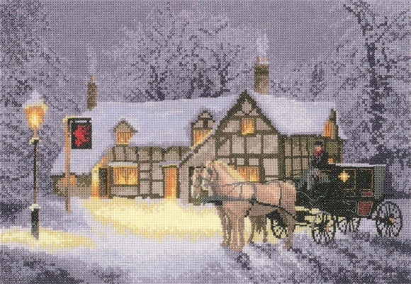 Christmas Inn Cross Stitch Kit, John Clayton, Heritage Crafts