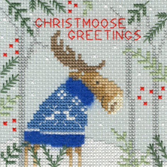 Xmas Moose Christmas Card Cross Stitch Kit, Bothy Threads XMAS7