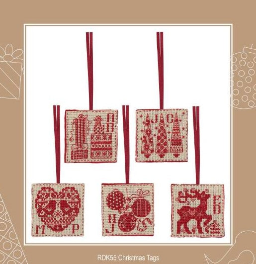 Christmas Gift Tags Cross Stitch Kit, set of 5 -Anchor RDK55