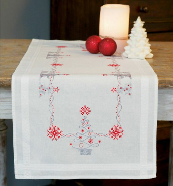 Christmas Trees Runner Printed Cross Stitch Kit, Embroidery Vervaco PN-0167023