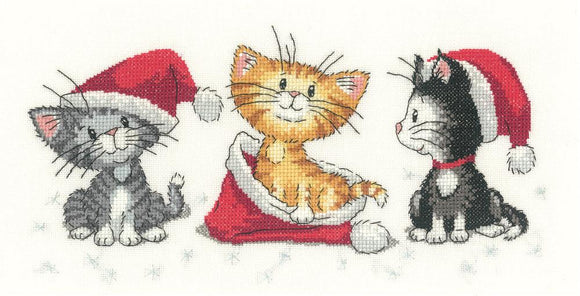 Christmas Kittens Counted Cross Stitch Kit, Heritage Crafts -Peter Underhill