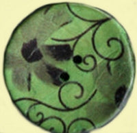 Coconut Buttons, Green Patterned Coconut Button - Large, 30mm