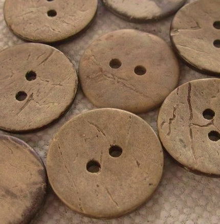 Coconut Buttons, Rustic Beige Textured Coconut Button - Large, 30mm