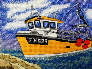 Cornish Fishing Boat Counted Cross Stitch Kit, Emma Louise Art Stitch