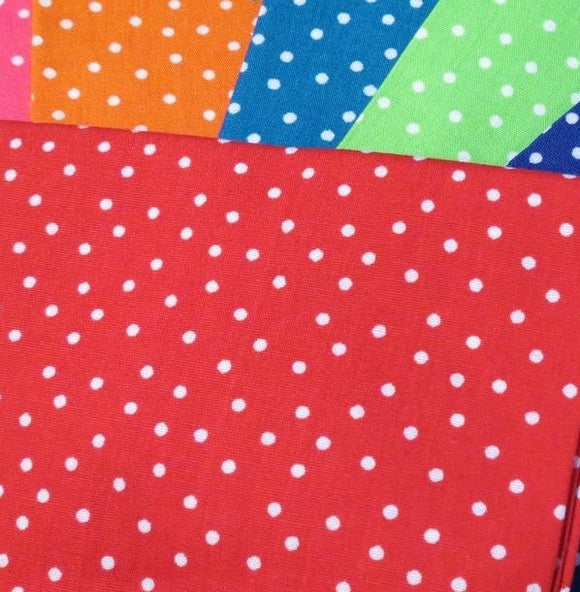 Country Cotton Fabric Bundle, Fat Quarters -Bright Dotty Spots