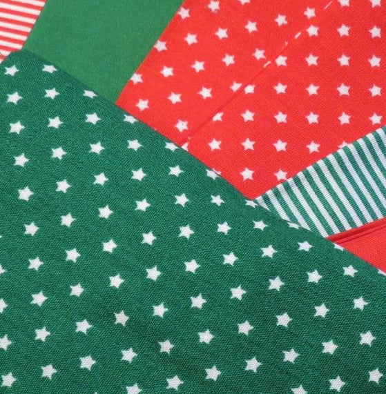 Country Cotton Fabric Bundle, Fat Quarters -Red/Green Stars/Stripes