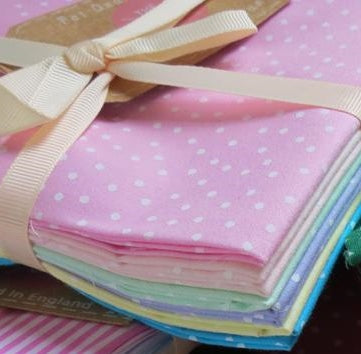 Country Cotton Fabric Bundle, Fat Quarters -Pastel Dotty Spots