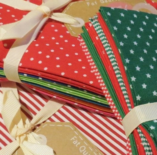 Country Cotton Fabric Bundle, Fat Quarters -Red/Green Spots/Checks