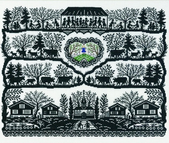 Country Life Blackwork Silhouette Cross Stitch Kit, Eva Rosenstand 12-942