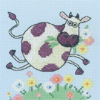 Cow Cross Stitch Kit Critter, Heritage Crafts -Karen Carter