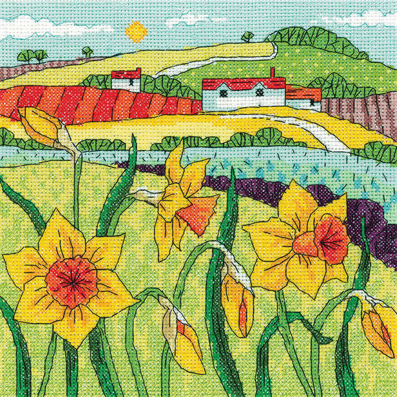 Daffodil Landscape Counted Cross Stitch Kit, Heritage Crafts -Karen Carter