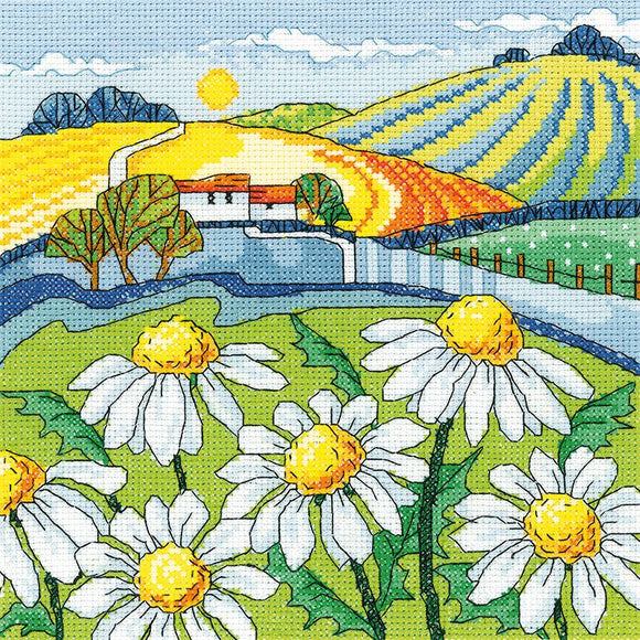 Daisy Landscape Counted Cross Stitch Kit, Heritage Crafts -Karen Carter