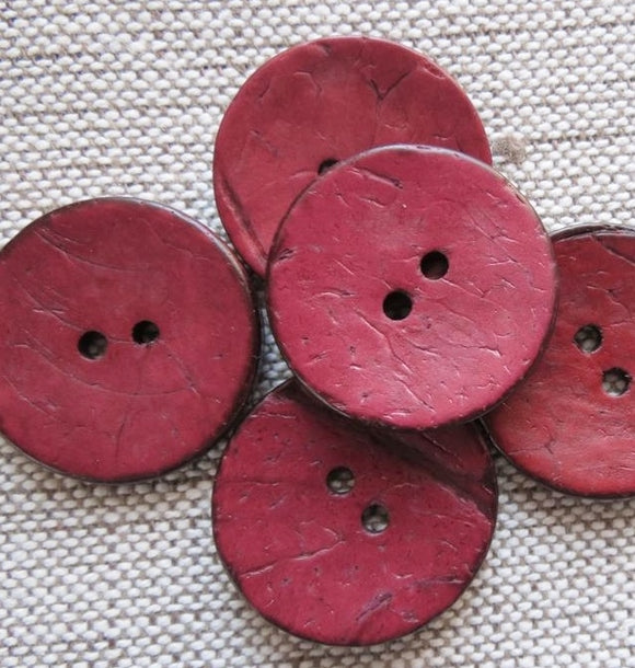 Coconut Buttons Damson Rustic Textured Coconut Button -Medium 23mm