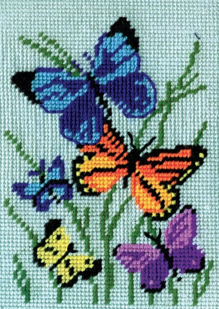 Butterflies Tapestry Kit, Needlepoint Starter, Design Works 2569