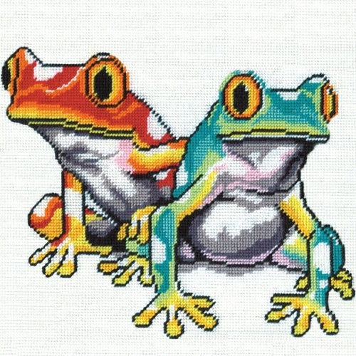Frogs Tapestry Kit, Needlepoint Starter, Design Works 2519