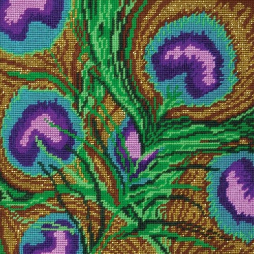 Peacock Feathers Tapestry Kit, Needlepoint Starter, Design Works 2518
