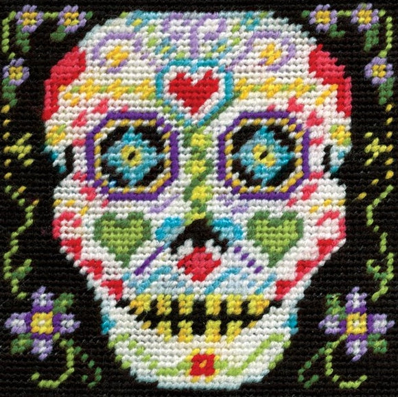 Sugar Skull Tapestry Kit, Needlepoint Starter, Design Works 2631