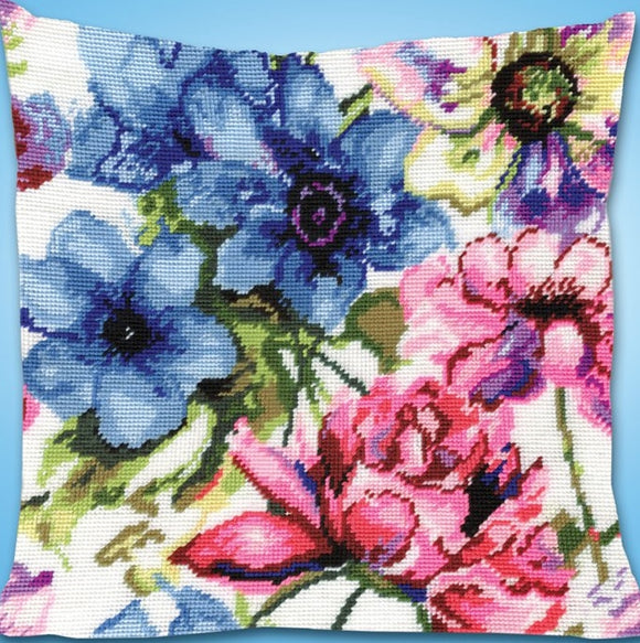 Watercolour Floral Tapestry Kit, Needlepoint Starter Design Works 2619