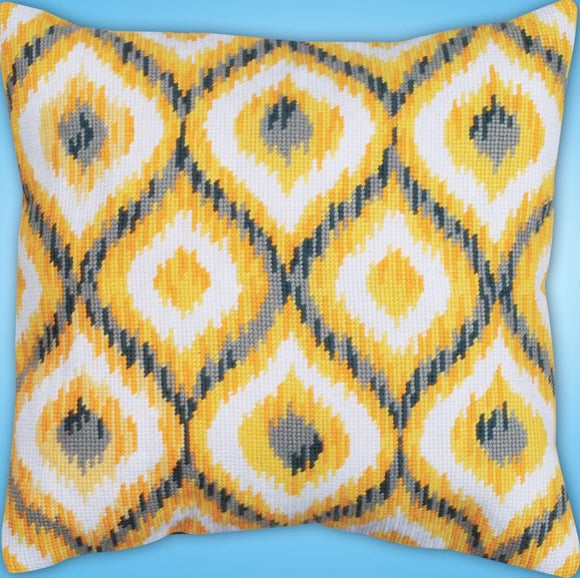 Yellow Ikat Tapestry Kit, Needlepoint Starter, Design Works 2558